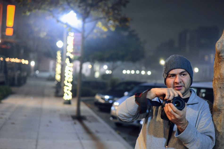 Hector shooting with his Canon