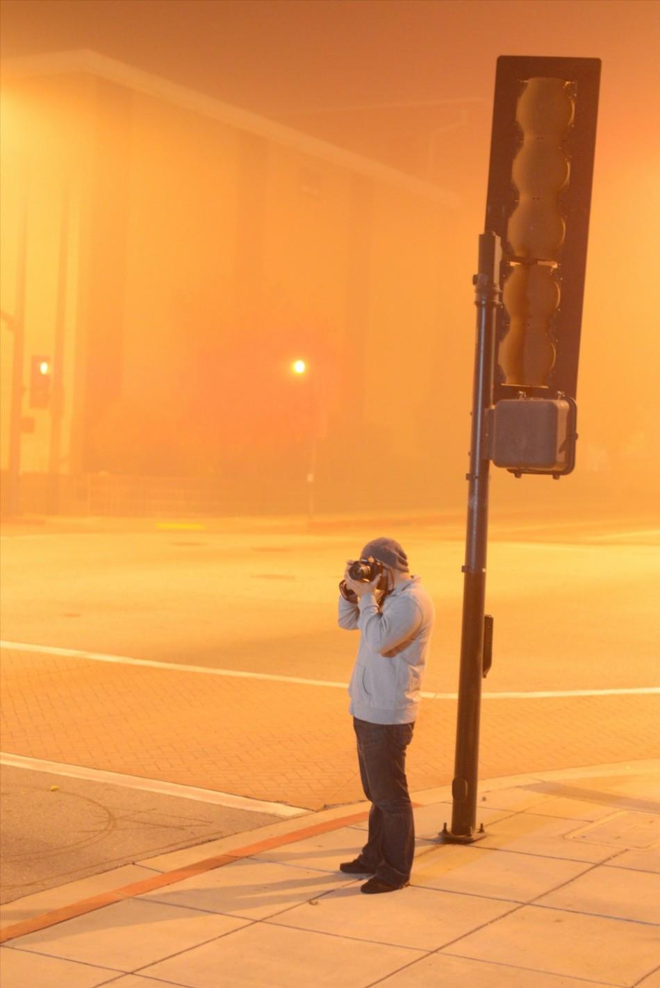 Street Light made the fog glow orange